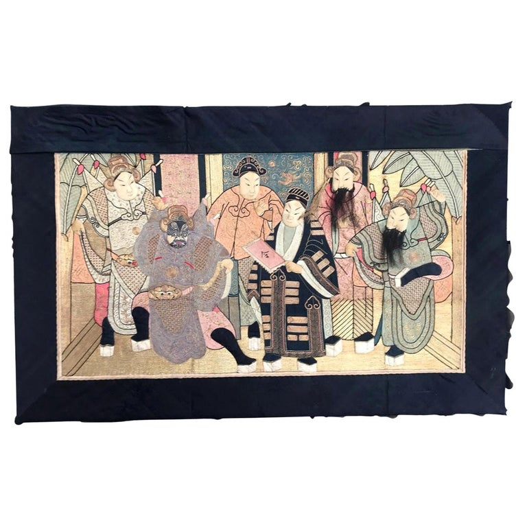 Wonderful Antique Chinese Pictural Embroidery with Silk and Metal For Sale