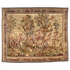 Wonderful Antique French Aubusson Tapestry Maximilian Design