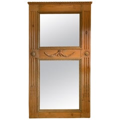 Wonderful Antique French Hand Carved Oak Trumeau Mirror