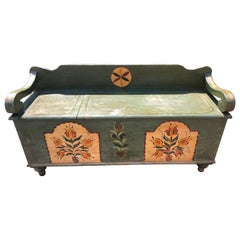 Wonderful Antique Rustic Hand Painted Amish Bench with Storage