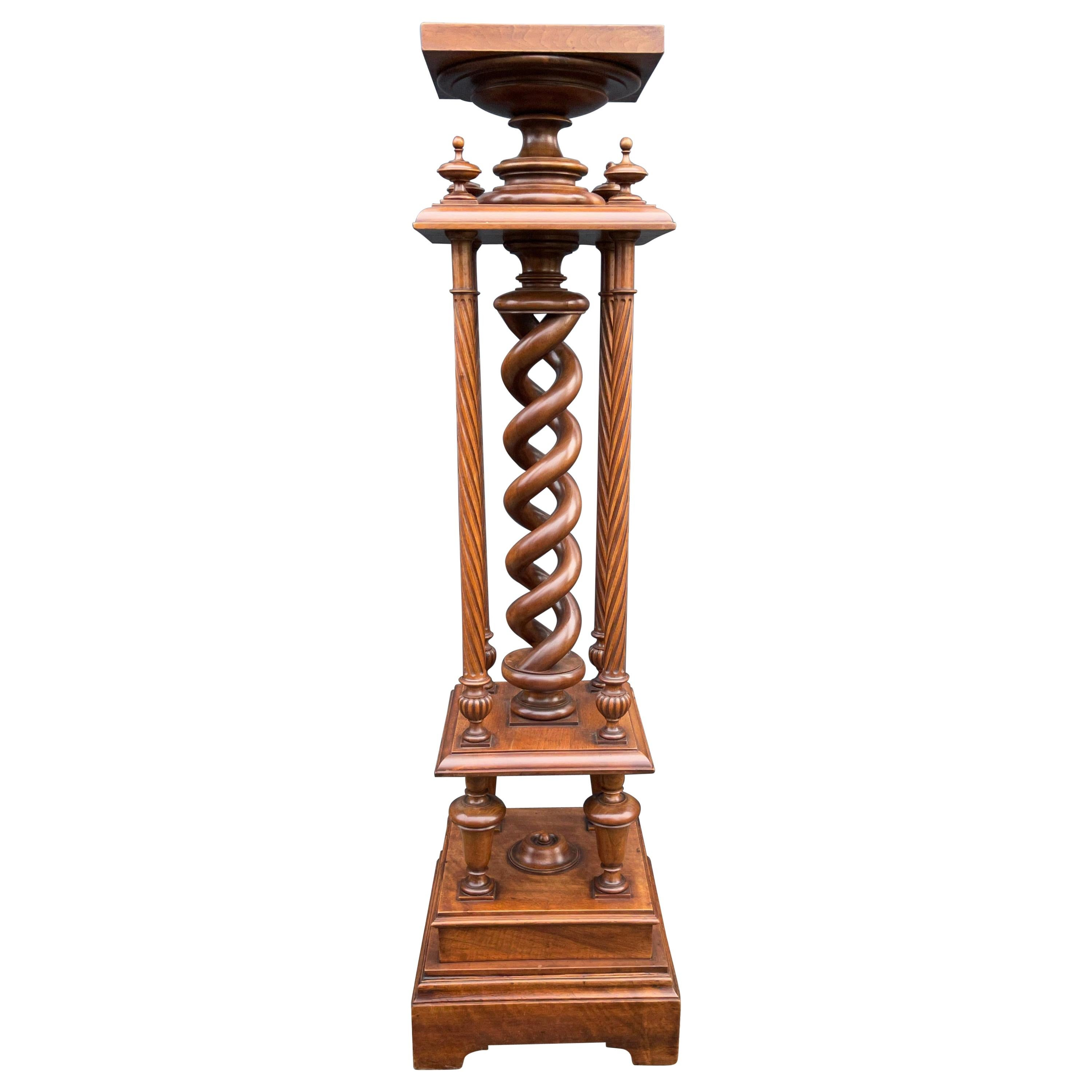Wonderful Antique Victorian Sculpture Pedestal Stand Made of Solid Nutwood