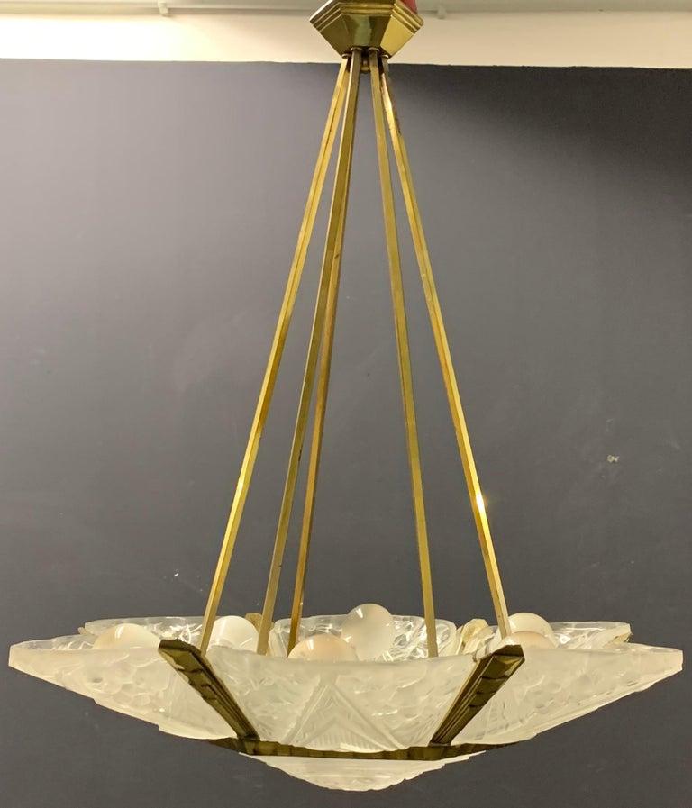 Wonderful Art Deco Chandelier from France For Sale 8