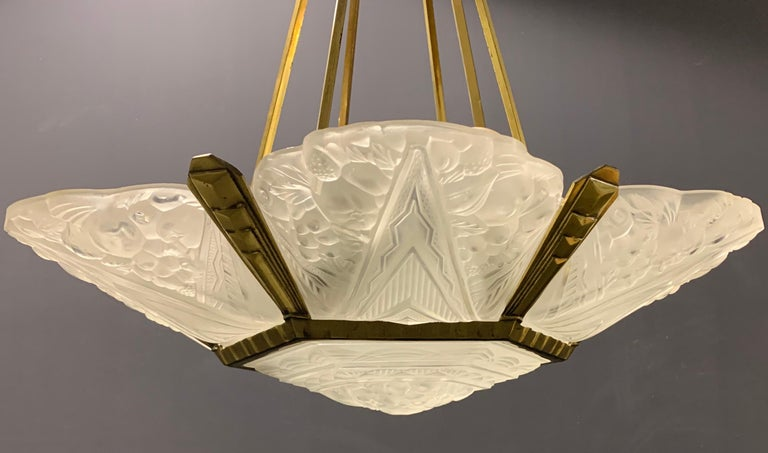 French Wonderful Art Deco Chandelier from France For Sale