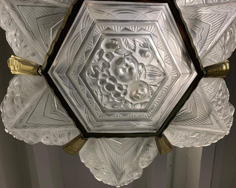 Bronze Wonderful Art Deco Chandelier from France For Sale