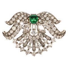 Wonderful Art Deco Clip in Platinum 950 Set with Emerald and Diamonds