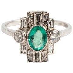 "Wonderful ""Art Deco"" Diamond '.60 Carat' and Oval Emerald '.70 Carat' Ring"