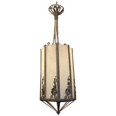 Wonderful Art Deco Edgar Brandt Scroll Flower Iron Frosted Glass Lantern Fixture