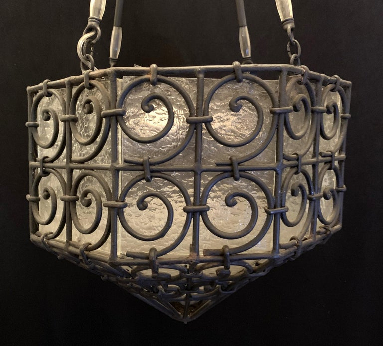 20th Century Wonderful Art Deco Edgar Brandt Scroll Iron Frosted Glass Lantern Fixture For Sale