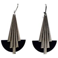 Wonderful Art Deco Fan Shaped Earrings