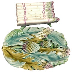 Wonderful Asparagus and Artichoke French Majolica Large Dish with Cradle