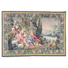 Wonderful Aubusson Style Gallant Scene French Jaquar Tapestry