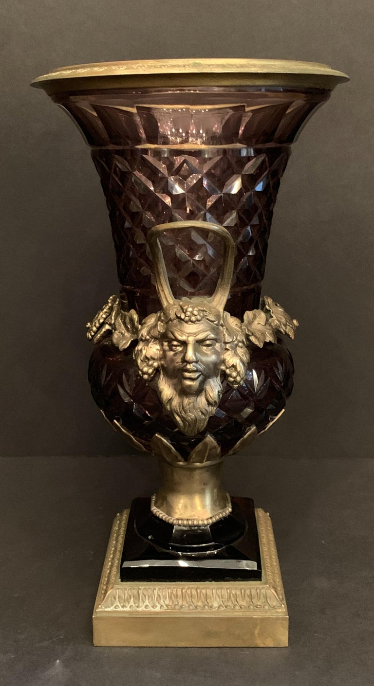 A wonderful stamped Austrian amethyst cut crystal and bronze ormolu-mounted vase or handle urn.