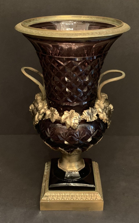 Neoclassical Wonderful Austrian Amethyst Cut Crystal Bronze Ormolu Mounted Vase Handle Urn For Sale