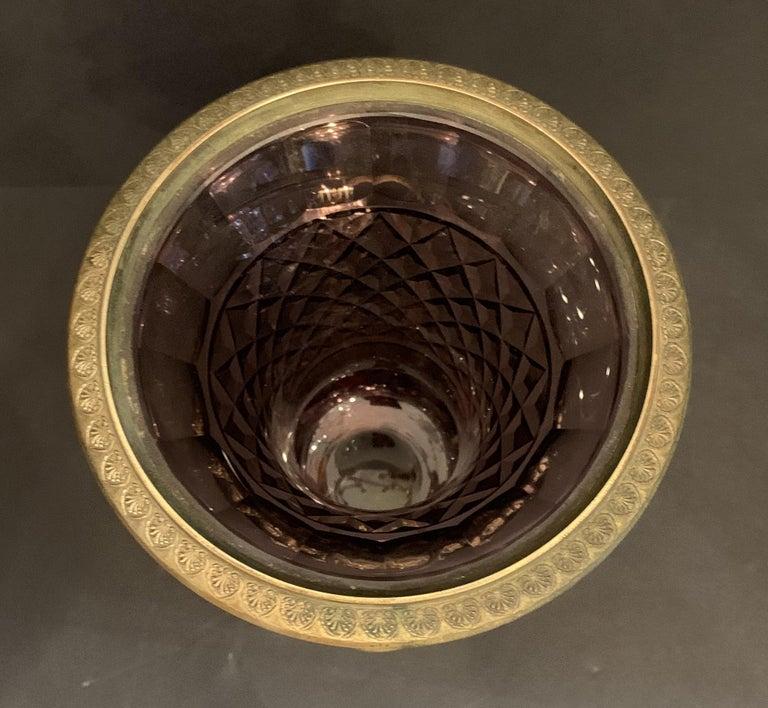 Faceted Wonderful Austrian Amethyst Cut Crystal Bronze Ormolu Mounted Vase Handle Urn For Sale