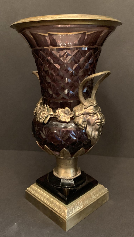 Wonderful Austrian Amethyst Cut Crystal Bronze Ormolu Mounted Vase Handle Urn In Good Condition For Sale In Roslyn, NY