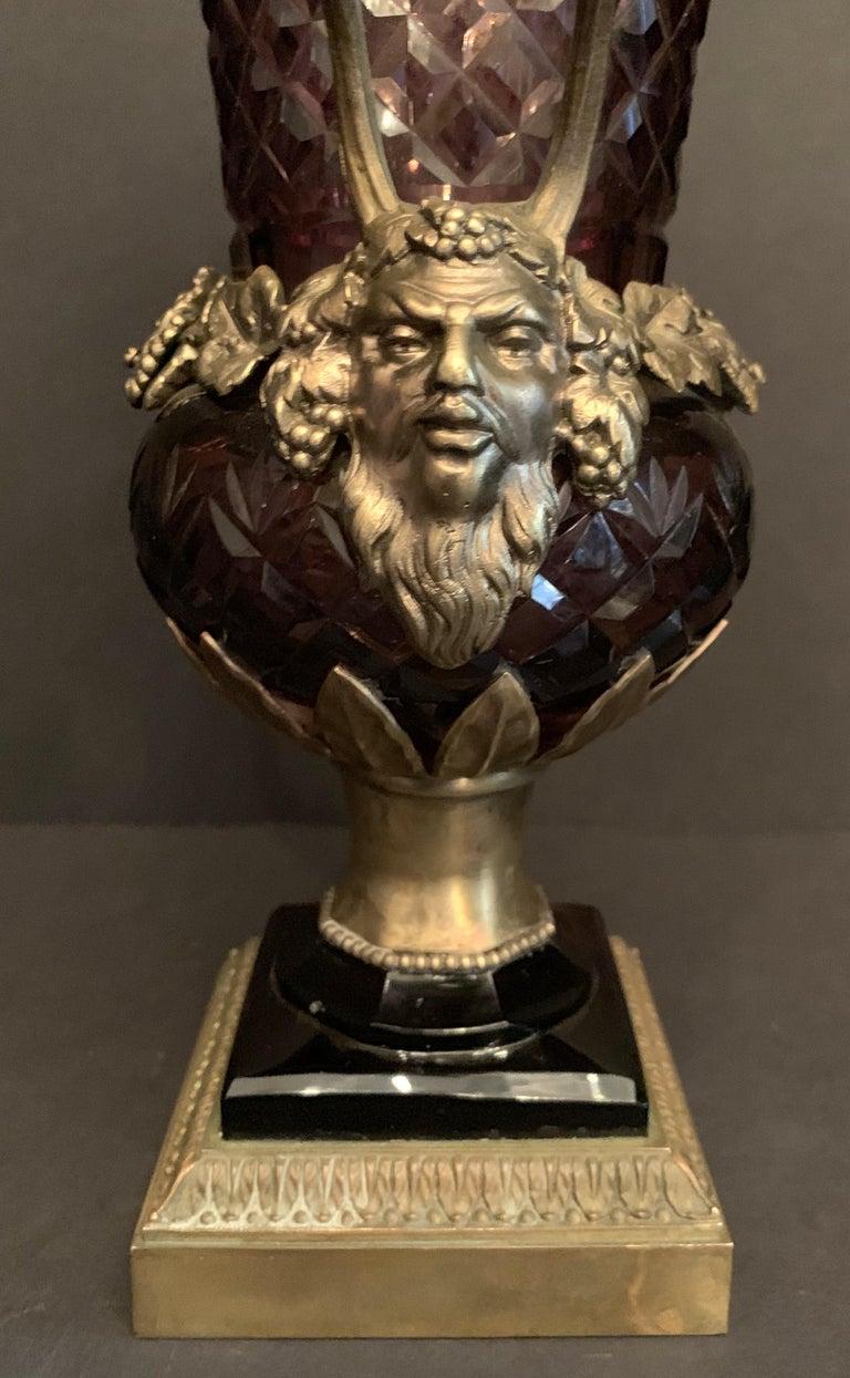 19th Century Wonderful Austrian Amethyst Cut Crystal Bronze Ormolu Mounted Vase Handle Urn For Sale