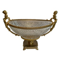 Wonderful Baccarat French Cherub Gilt Bronze Ormolu Centerpiece Crystal Insert