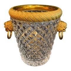 Wonderful Baccarat French Diamond Cut Crystal Bronze Ormolu Ice Bucket Cooler