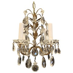 Wonderful Baguès Beaded Crystal Petite Pendent Flower Leaf Chandelier Fixture