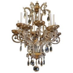 Wonderful Baguès Beaded Italian Bronze Crystal Beaded 12-Light Basket Chandelier