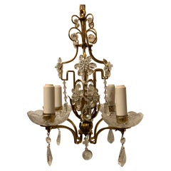Wonderful Baguès French Brass Crystal Beaded Petite Chandelier Light Fixture