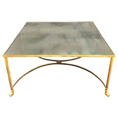 Wonderful Baguès French Bronze Paw Foot Distressed Mirror Coffee Cocktail Table