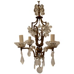 Wonderful Bagues French Gilt Crystal Beaded Petite Chandelier Four-Light Fixture