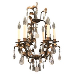 Wonderful Baguès French Iron Gold Gilt Rock Crystal Filigree Beaded Chandelier