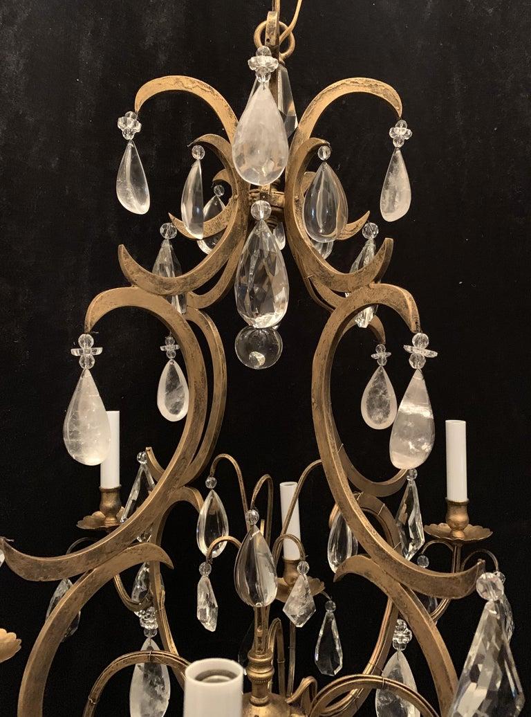 Mid-Century Modern Wonderful Baguès French Rock Crystal Gilt Iron Bird Cage Chandelier Ten-Light For Sale