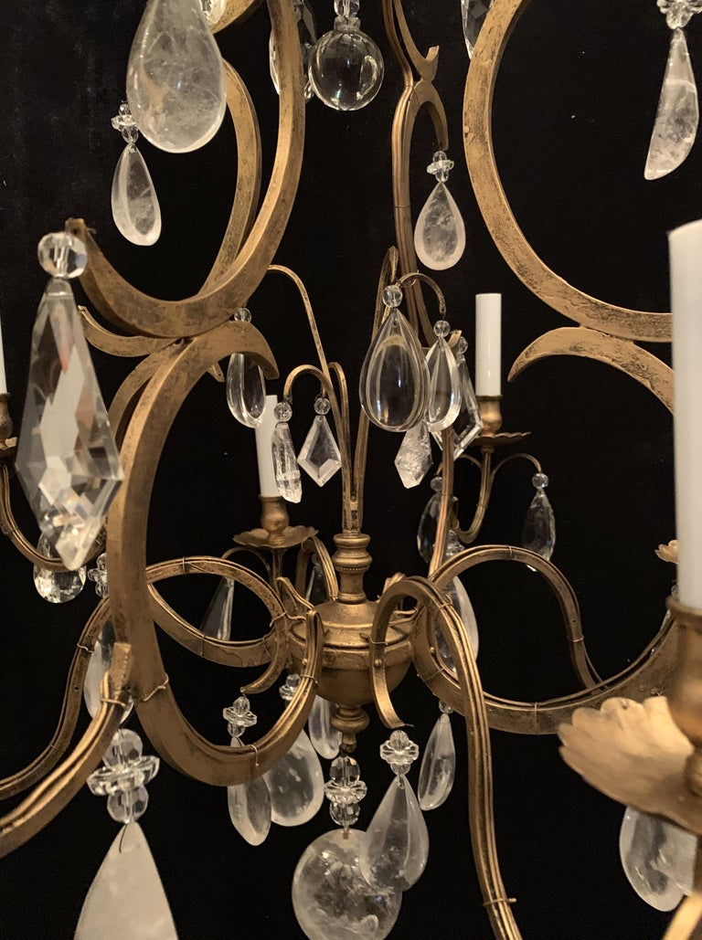 Wonderful Baguès French Rock Crystal Gilt Iron Bird Cage Chandelier Ten-Light In Good Condition For Sale In Roslyn, NY