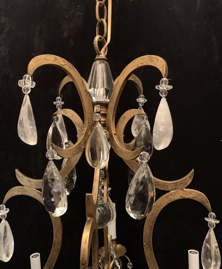 20th Century Wonderful Baguès French Rock Crystal Gilt Iron Bird Cage Chandelier Ten-Light For Sale