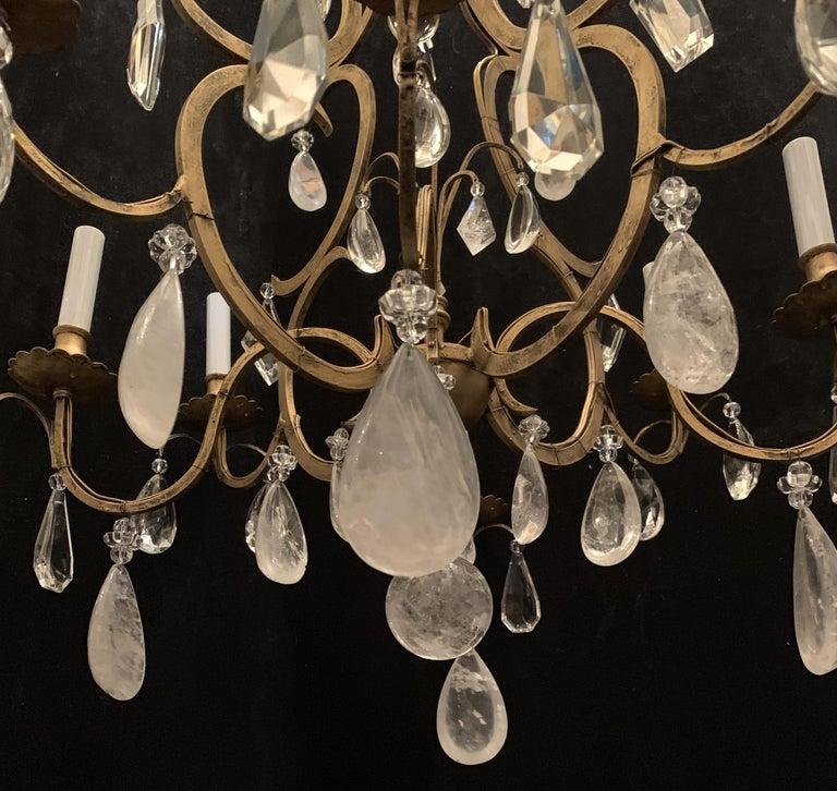 Wonderful Baguès French Rock Crystal Gilt Iron Bird Cage Chandelier Ten-Light For Sale 3