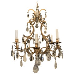 Wonderful Baguès French Rock Crystal Gilt Iron Bird Cage Chandelier Ten-Light