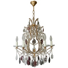Wonderful Baguès French Six Light Rock Gilt Crystal Chandeliers
