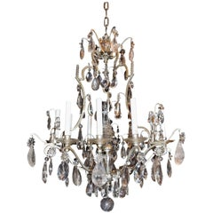 Wonderful Bagues Nine-Light Silvered Rock Crystals Faceted Flower Chandelier