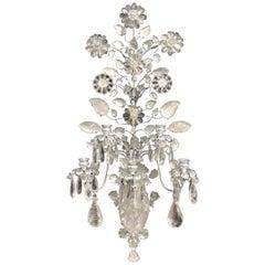 Wonderful Pair Baguès Silver Gilt Rock Crystal Large 5-Arm Flower Leaf Sconces