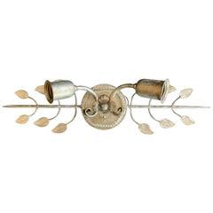 Wonderful Baguès Silver Leaf over Vanity Mirror Sconce Wall Light Fixture Beaded