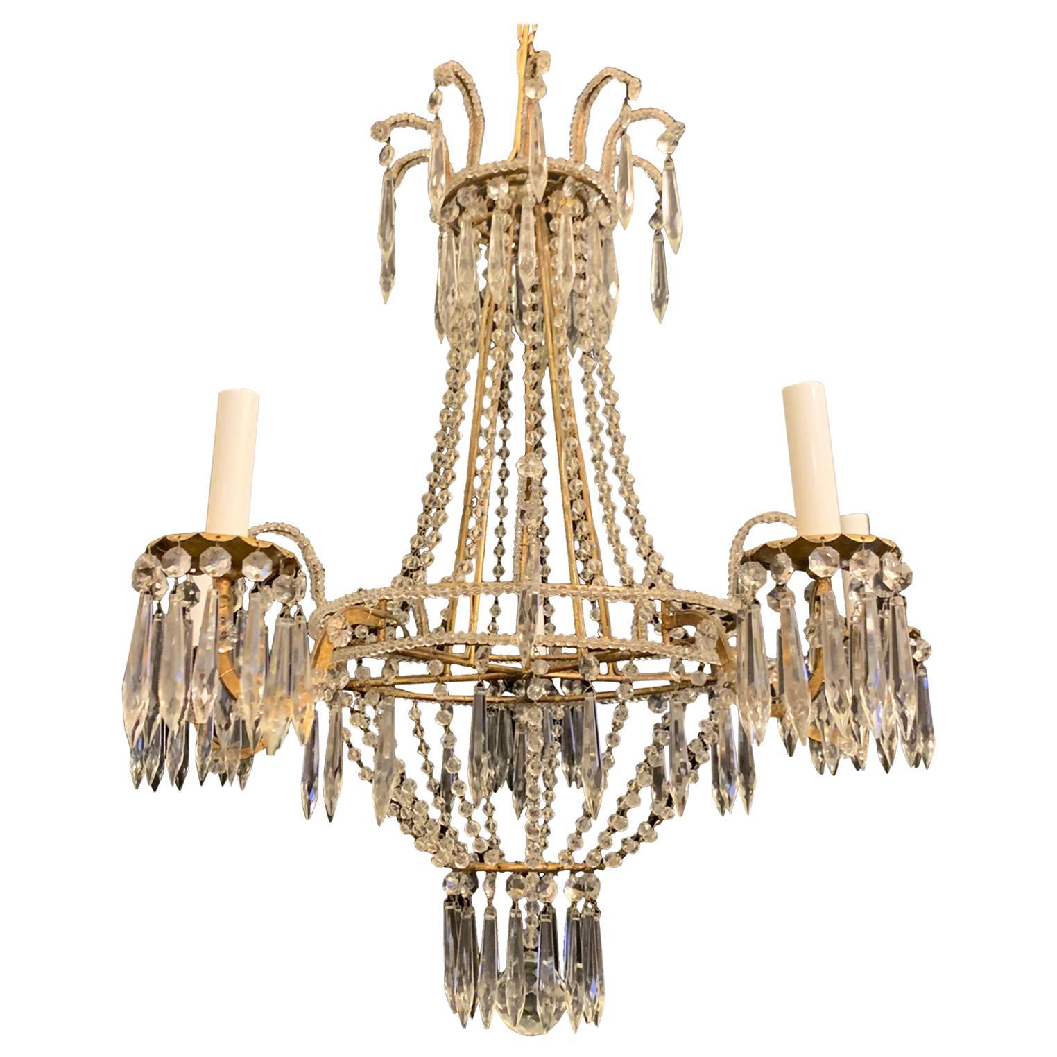 Wonderful Beaded Crystal Basket Swag Gold Gilt Italian 5 Light Chandelier