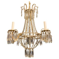 Wonderful Beaded Crystal Basket Swag Gold Gilt Italian 5 Light Chandelier