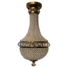 Wonderful Beaded Crystal Brass Basket Flush Mount Light Fixture
