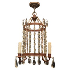 Wonderful Beaded Crystal Red Tole Gilt Pagoda Lantern Pendent Chandelier