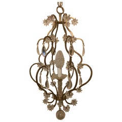 Wonderful Beaded Gold Gilt Star Basket Pendent Chandelier Petite Light Fixture