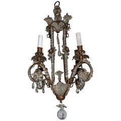 Wonderful Beaded Italian Baguès Gilt Vintage Tole Chandelier Pagoda Fixture