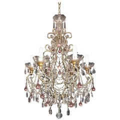 Wonderful Beaded Italian Giltwood Pink Tear Drop Bird Cage Chandelier Fixture