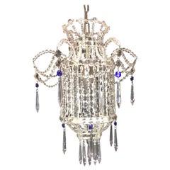Wonderful Beaded Italian Venetian Blue Crystal Pagoda Lantern Chandelier Pendent