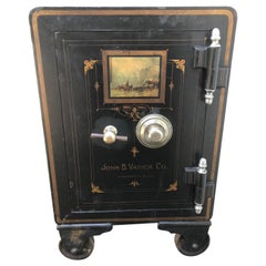 Wonderful Black Cast Iron and Painted Safe by John B. Varick Co.