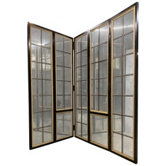 Wonderful Black Lacquered Distressed Mirror 5-Panel Large Room Divider Screen