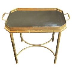 Wonderful Brass Bronze Faux Bamboo Beveled Mirror Gallery Tray Top Coffee Table