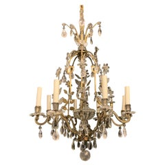 Wonderful Bronze Rock Crystal Beaded Basket Flower Maison Baguès Chandelier