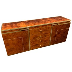 Wonderful Burl Wood Credenza by Jean Claude Mahey